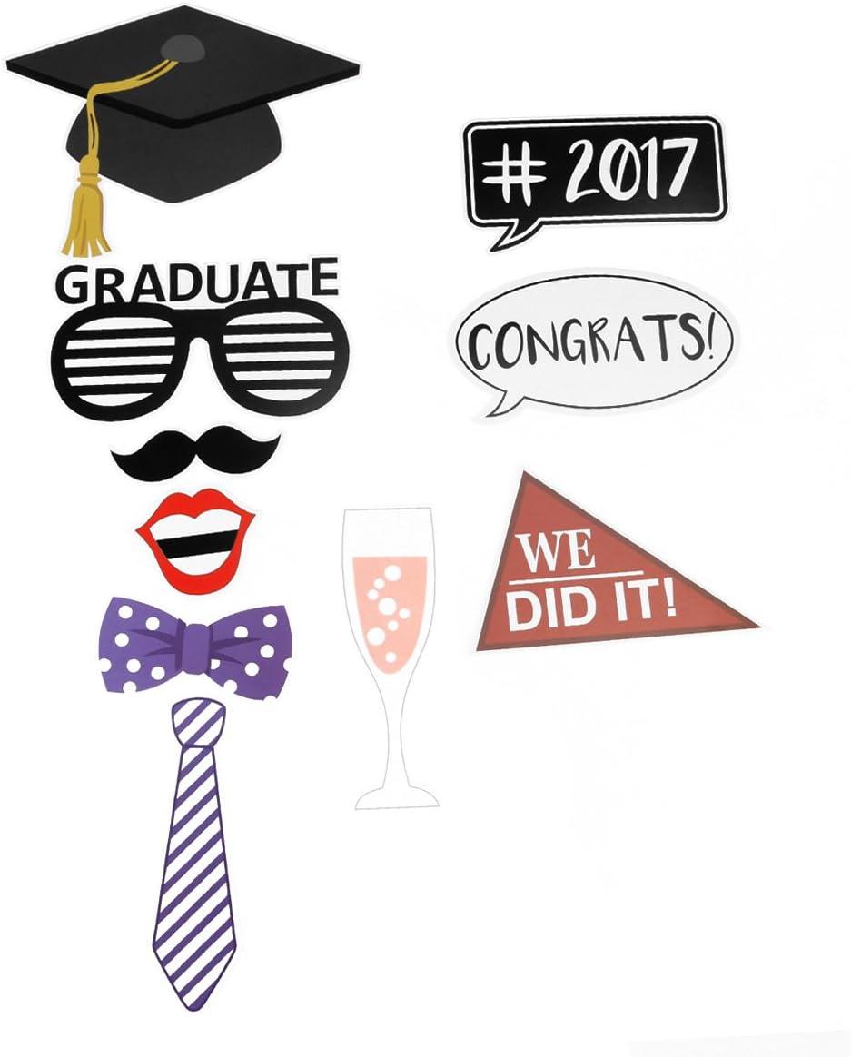 BESTOYARD 2018 Graduation Photo Props Graduation Photo Booth Props 2018 Graduation Party Decorations 30pcs COMINHKPR152738