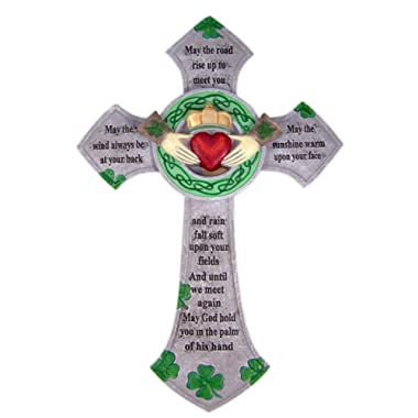 Irish Blessing Claddagh Resin Celtic Wall Cross Home Decor, 13 3/4 Inch