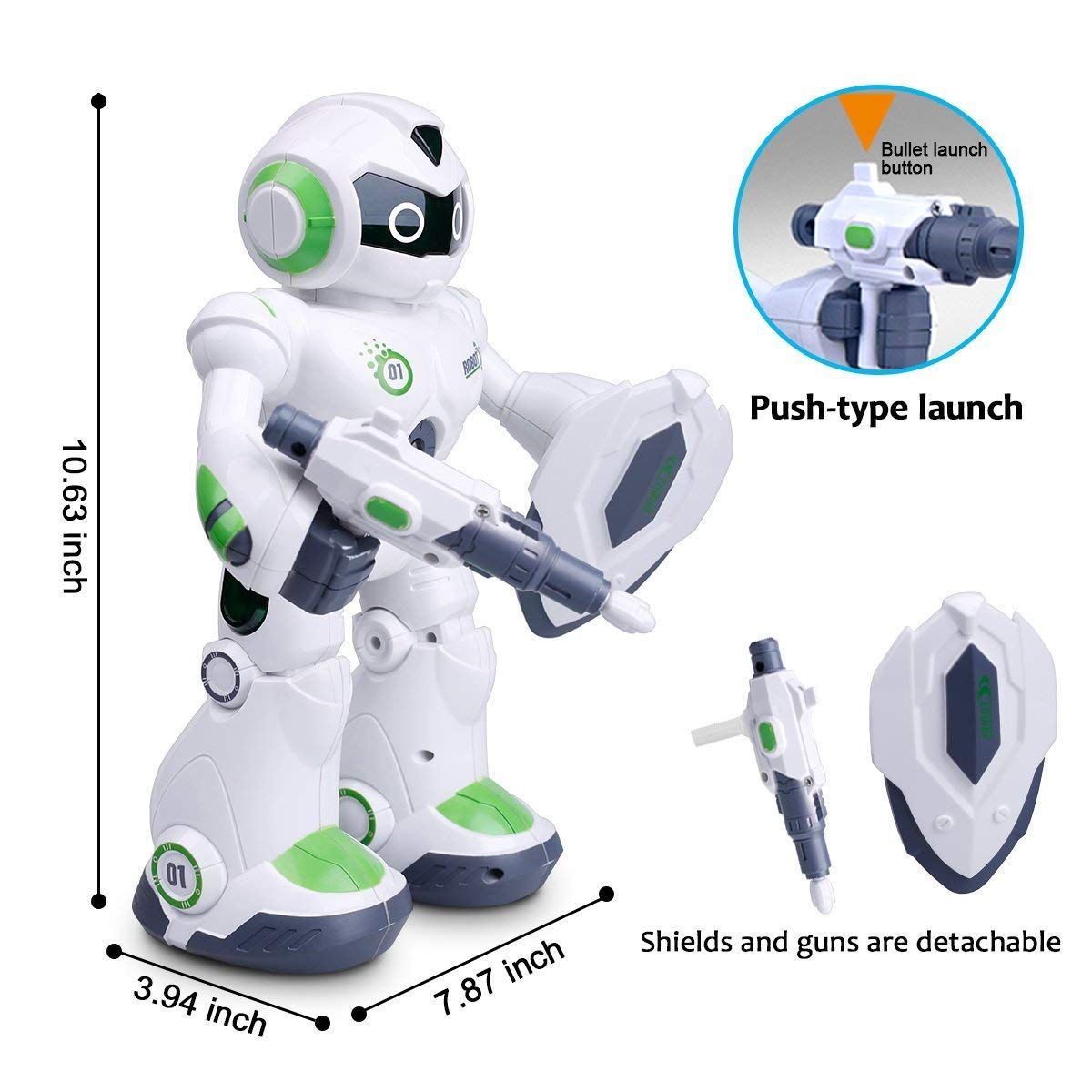 Remote Control Robot,Robot Toys,Smart Robotics for Kids with Gesture Sense, Interactive Walking Singing Dancing Speaking,with LED Light, Shoots Missiles, Talking, Walking, Singing, Educational Toys by Locke Teddy (Image #9)
