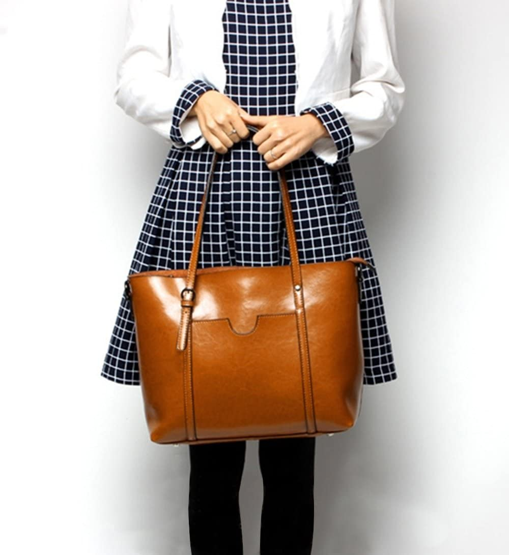 YALUXE Femme Sac /à Main Cabas Cuir V/éritable Tote Style Vintage Grand Ordinateur de 13 Pouce Brun