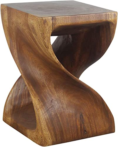Haussmann Wood Twist End Table 15 x 15 x 20 inch High Walnut Oil - the best living room table for the money