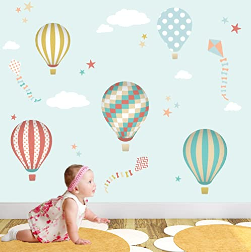 Hot Air Balloon Wall Stickers, Kites, White Clouds U0026 Stars. Kids Wall Decal