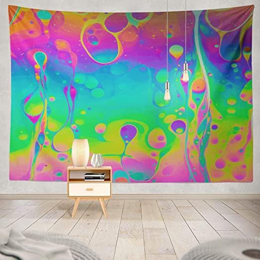 ONELZ Decor Collection, Psychedelic Multicolored Soap Bubble Abstract Psychedelic Bubble Color Abstract Bedroom Living Room Dorm Wall Hanging Tapestry 60 L X 80 W Polyester Polyester Blend