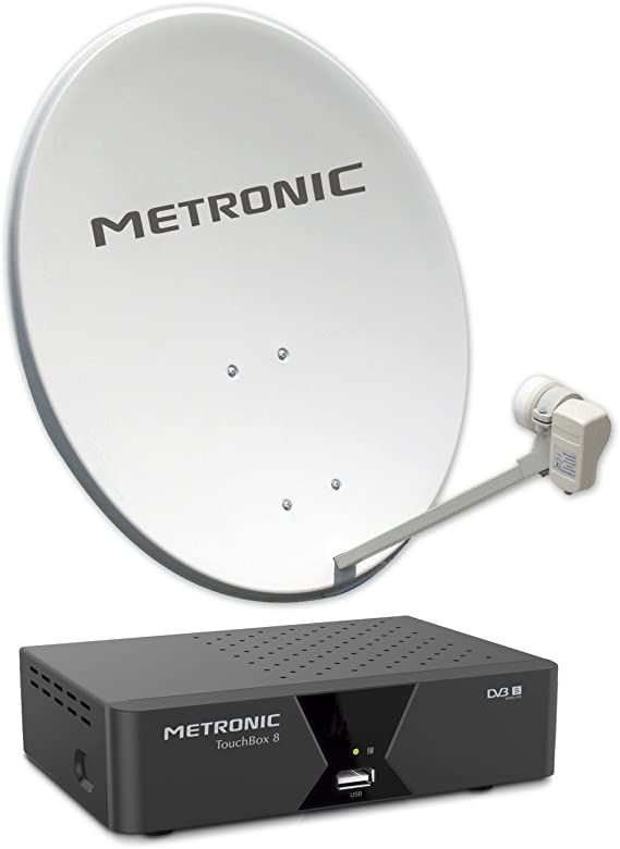 Metronic 428115 - Kit satélite Digital FTA con parabólica (60cm, Receptor satélite HD) Color Blanco