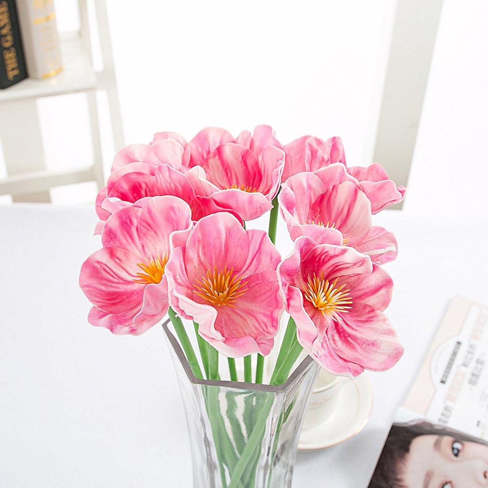 pannow 10pcs人工ミニリアルタッチPUフェイク人工ポピーPoppyラテックストウモロコシパーティ装飾シルクの花ホームパーティー装飾ピンク B0725Z7PWS
