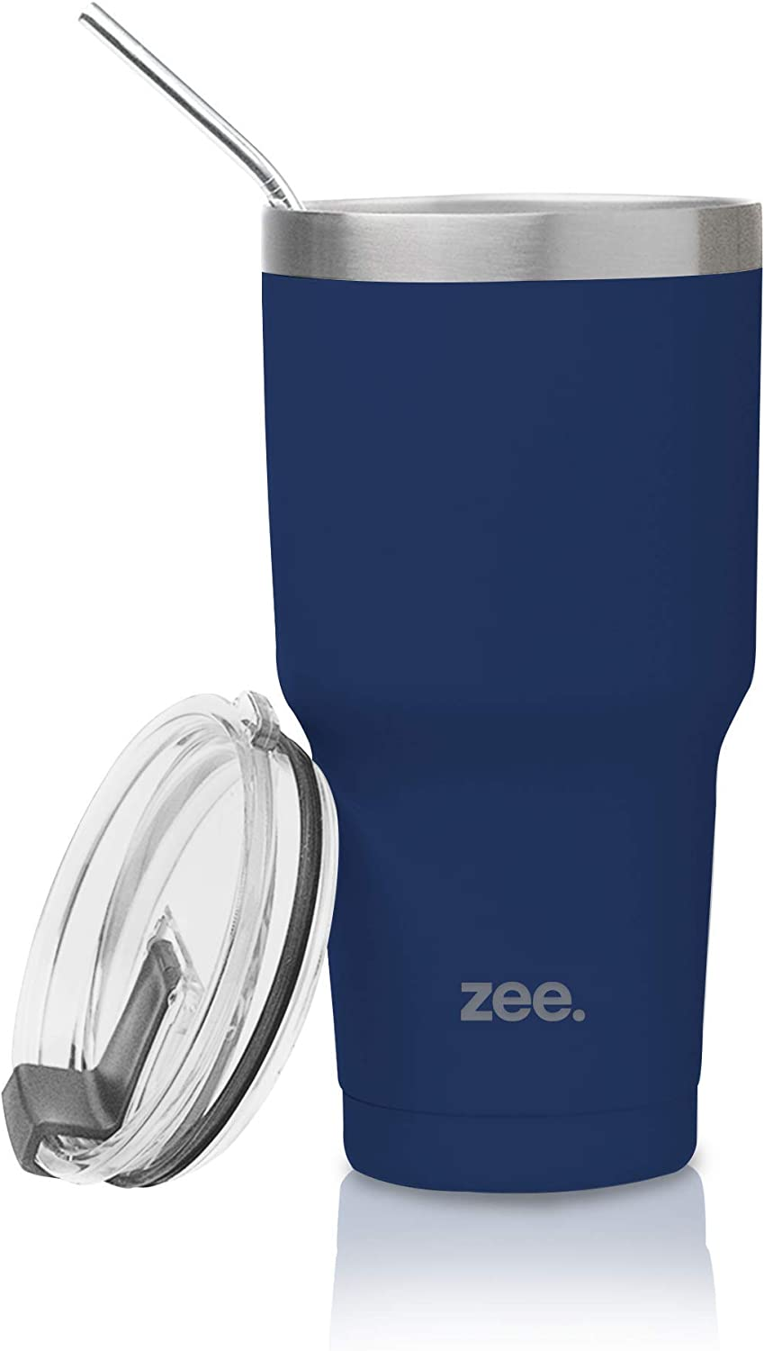 Tumbler with Straw & Cleaning Brush - Vacum Insulated Stainless Steel Tumbler Cup For Hot & Cold Beverages - Non-Slip, Anti-Splash, Sweat-Proof, Portable Travel Mugs by Zee (Blue Marlin, 30 oz)