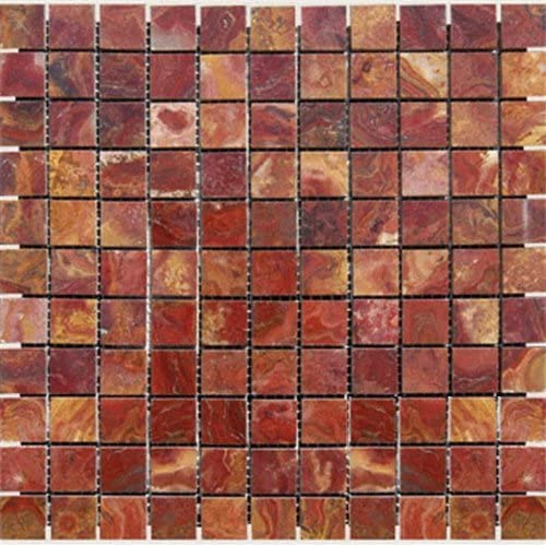 chic MS International 1 in. x 1 in. Red Polished Onyx Mesh-Mounted Mosaic Tile - Full Tile Sample - SAMPLE LISTING - ONLY ONE ALLOWED PER HOUSEHOLD