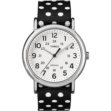 Amazon Timex Weekender Black White Polkadot Print Reverse To