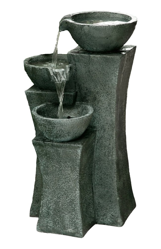 The Vicenza - 18'' Three Bowl Cascading Waterfall Rock Fountain. Perfect for Gardens and Outdoor Spaces.