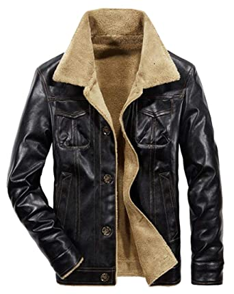 00812578ea5 Fensajomon Men s Fleece Lined Moto Biker Pu Leather Thicken Winter Warm  Windbreaker Jacket Coat at Amazon Men s Clothing store