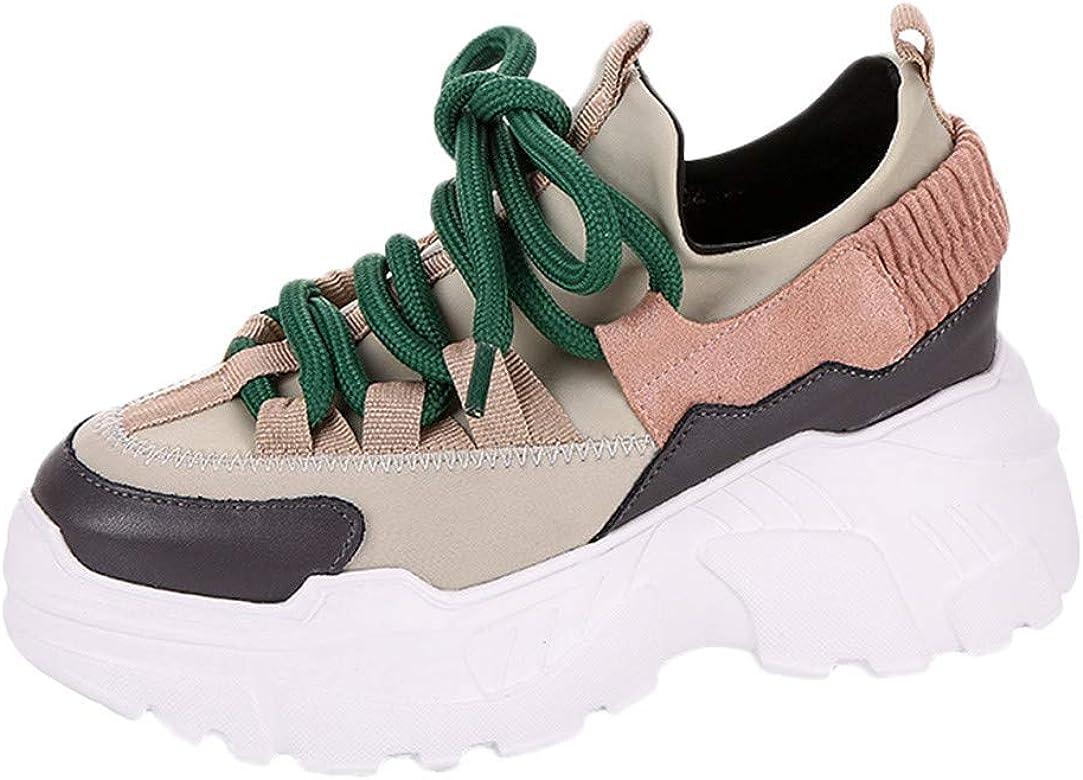 Waselia - Zapatillas de Running para Mujer con Dedos Redondos y Punta Gruesa en la Parte Inferior, con Plataforma en la Parte Inferior, 35-40, Color Rosa, Talla 37 EU: Amazon.es: Zapatos y complementos
