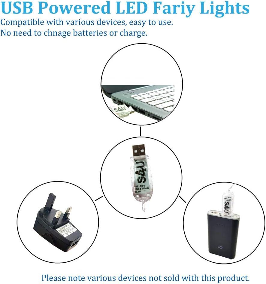 100/LED Guirlande lumineuse 10.5/m maintenant avec 105/LED 8/Fonction USB dalimentation en cuivre et Noir Fil S4u