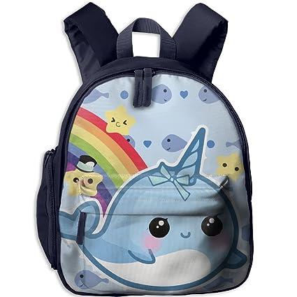 Toddler Kid Cartoon Rainbow Narwhal escuela mochila personalizada preescolar hombros bolsa para niños niñas