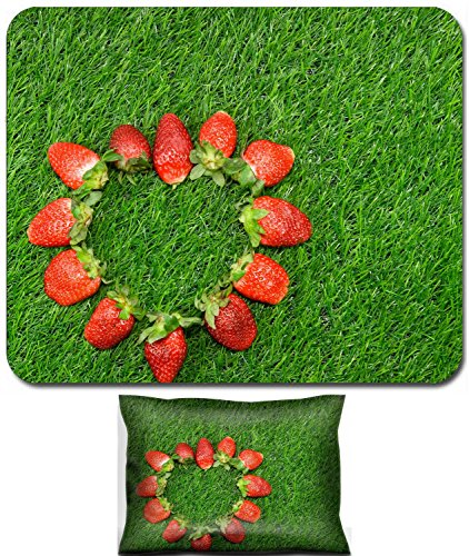 Luxlady Mouse Wrist Rest and Small Mousepad Set, 2pc Wrist Support design IMAGE: 24373363 Heart shaped Strawberry on green grass