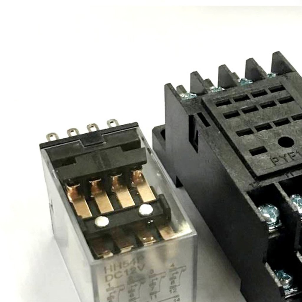Sharplace HH52P MY2NJ Relay 220V AC DPDT Electromagnetic Relay With Socket Base Holder