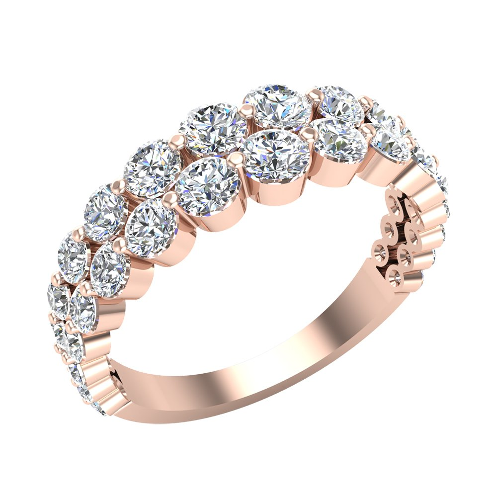 1.67 ct tw Connect the Dots Graduating Diamonds Two Rows Riviera Fashion Band Ring 14K Rose Gold (Ring Size 7)