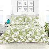 3 Piece Green Grey Luxury Floral Pattern Quilt Cal King Set, Beautiful Rich Botanical Design, Elegant Geometric Stripes Reversible Bedding, Soft & Extra Warmth, Bohemian Style, Machine Wash, Cotton
