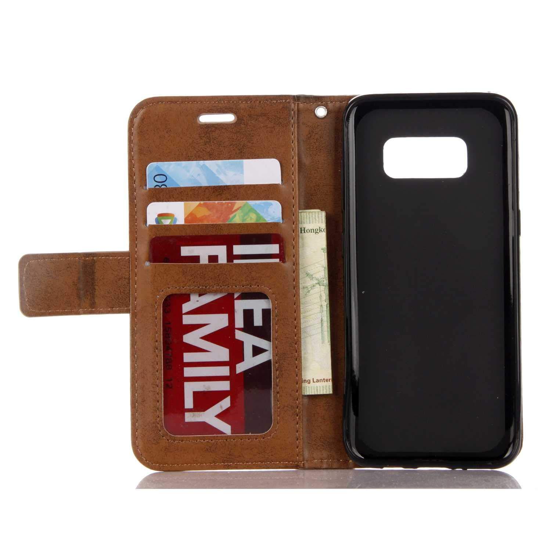 Carcasa Libro de Cuero para Samsung Galaxy S8 Billetera Cover Protectora con Ranura para Tarjetas DENDICO Funda Galaxy S8 Rosado