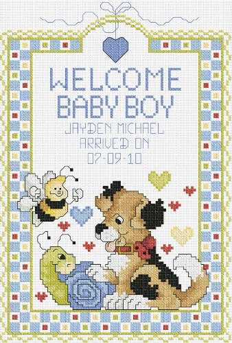 UPC 049489804693, Janlynn 14 Count Welcome Baby Boy Sampler Counted Cross Stitch Kit, 7-Inch by 10-Inch