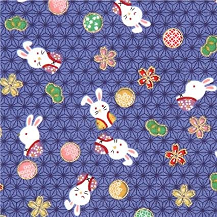 Dark blue cute colorful bunny rabbit flower gold metallic embellishment fabric (per 0.5 yard unit)