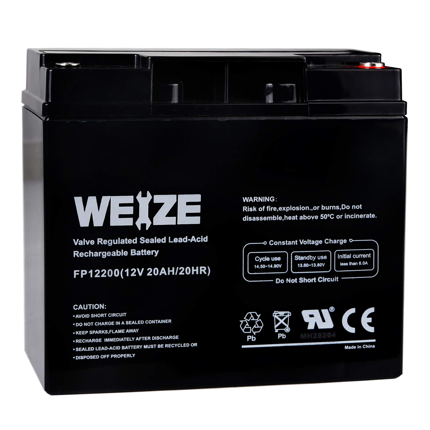 Weize 12V 20AH Lead Acid Battery Replace UB12200 FM12200 6fm20 EXP12200 12V 20AH 22AH Batteries by WEIZE