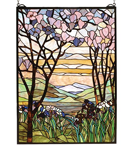 Tiffany Style Magnolia & Iris Stained Glass Window Panel Tiffany Magnolia