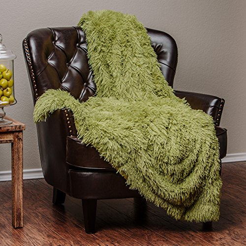 Chanasya Super Soft Long Shaggy Chic Fuzzy Fur Faux Fur Warm Elegant Cozy With Fluffy Sherpa Green Microfiber Throw Blanket (50