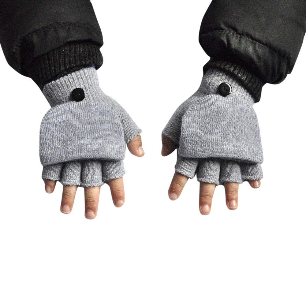 Lanhui Baby Boys Girls Winter Gloves Hand Wrist Warmer Flip Cover Fingerless Gloves (11x10cm, Gray)
