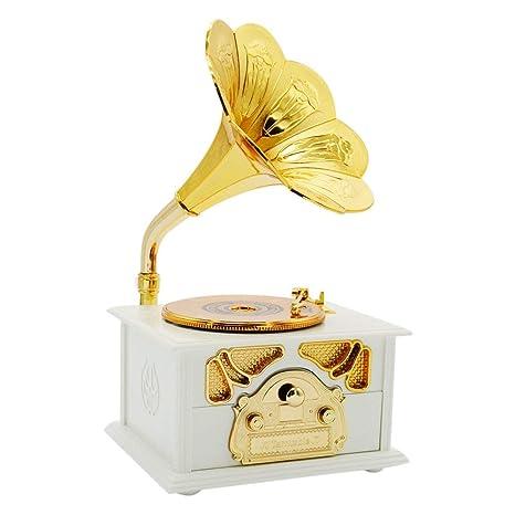 Clásica trompeta bocina tocadiscos Gramophone Art disco caja de ...