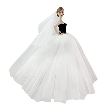 099e40f217276 Amazon.com: Gosear Wedding Dress for Barbie, Elegant Fairy Girl ...