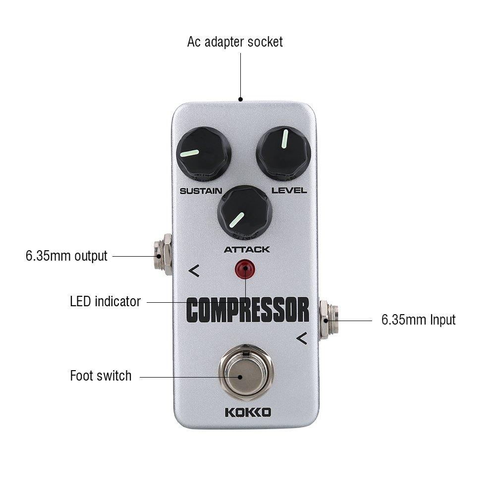 Accesorio de Pedal de Sustain de Mini Compresor Accesorio de Instrumento de Pedal para Guitarra El/éctrica Dilwe Pedal de Efectos de Guitarra