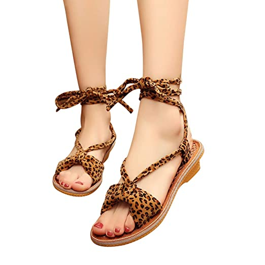 dc36c14504e1f Amazon.com: Fainosmny Womens Sandals Leopard Print Sandals Flat ...