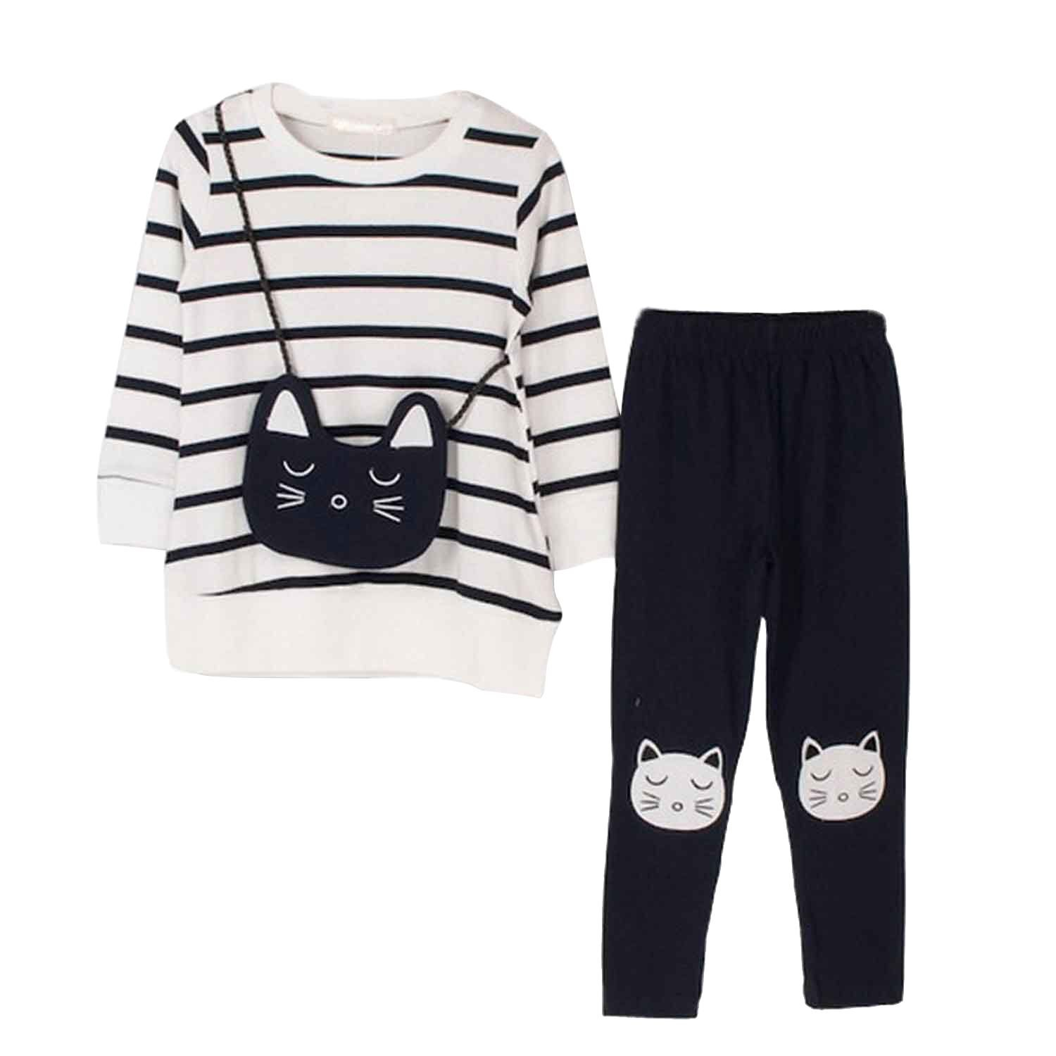 little Girls Cute Long Sleeve Top   Pant Clothes Set White Cat Tag 110  4-5 Years