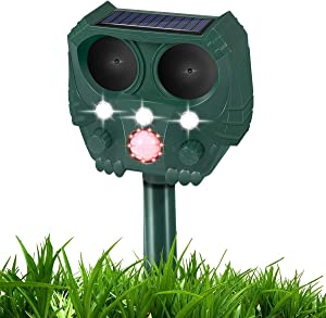 NOLTSE Ultrasonic Dog Chaser, Solar Animal Deterrent with Motion Sensor and Flashing Lights, Outdoor Waterproof Farm Garden Yard, Dogs, Cats, Birds, Squirrels, Rats