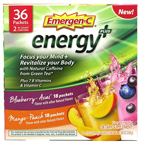 Emergen-C Energy+ Supplement Drink Mix with Caffeine, Blueberry-Acai, Mango-Peach, Variety Box, 36 Count – FOCUS YOUR MIND & REVITALIZE YOUR BODY*
