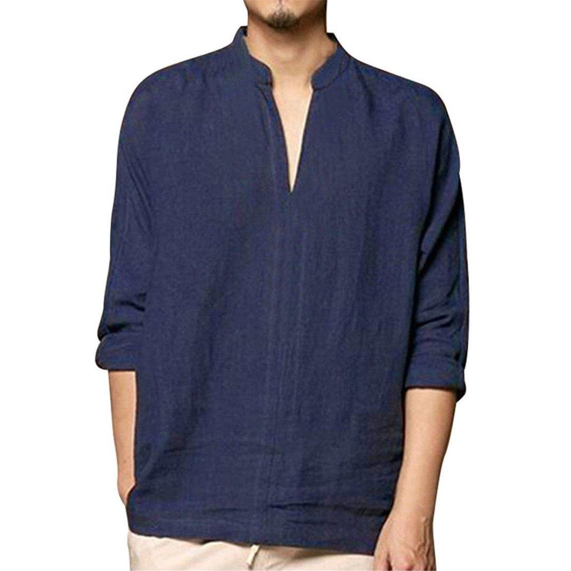 Bluestercool T-Shirt Uomo Manica Lunga Polo Moda Magliette Tinta Unita