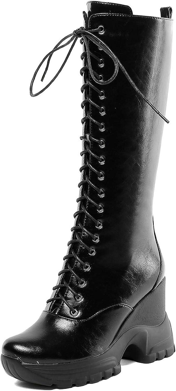 Mid Calf Platform Boots Women