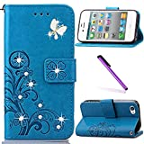 5c iphone light blue wallet case - iPhone 5C Case,LEECOCO 3D Bling Crystal Diamonds Lucky Clover Floral with Card Slots Flip Stand PU Leather Wallet Case for iPhone 5C with 1 x Stylus Pen Diamond Clover Blue