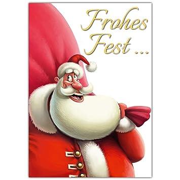 Frohe Weihnachten An Kollegen.A4 Xxl Weihnachtskarte Santa Claus Mit Umschlag Edle Lustige Klappkarte Für Kollegen Freunde Verwandte Frohe Weihnachten Karte Von Breitenwerk