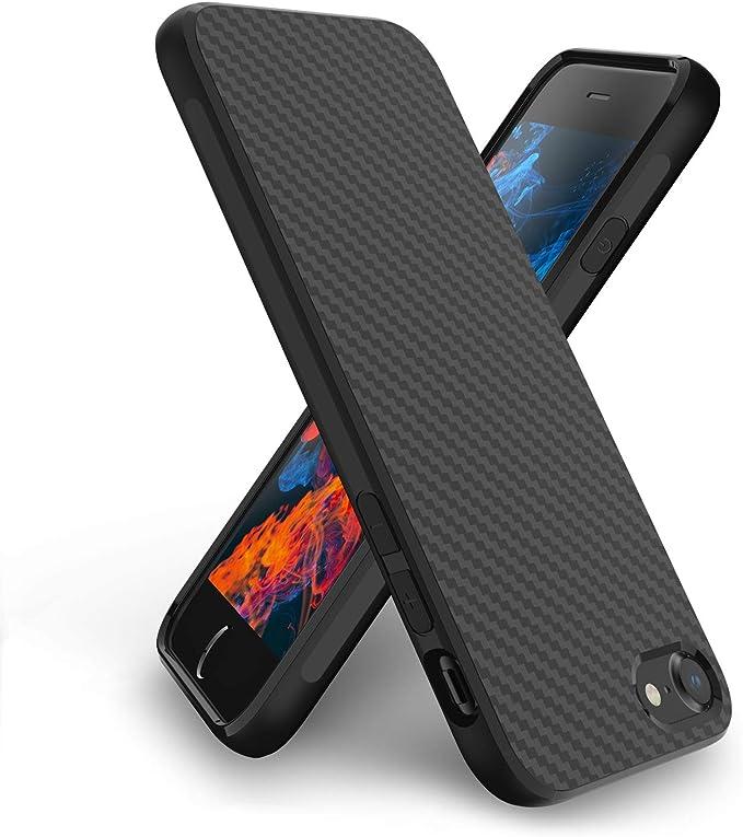 Syncwire Coque iPhone 8 Plus / 7 Plus – Housse de Protection en Fibre de Carbone, Texture Géométrique, Anti-Empreintes, Anti-Rayures, Anti-Chute Étuis ...