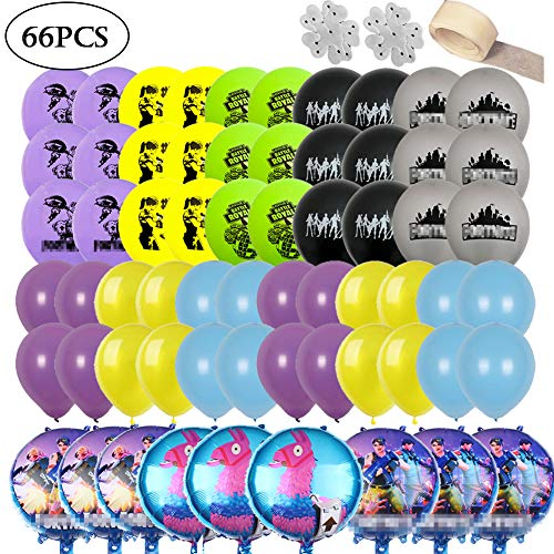Video Game Party Supplies - 63 Pack Birthday Party Decoration Including 9 Foil Balloons, 54 Latex Balloons, and 3 Tools that Could Help You Place Them Easily, Perfect for Boys Birthday Party