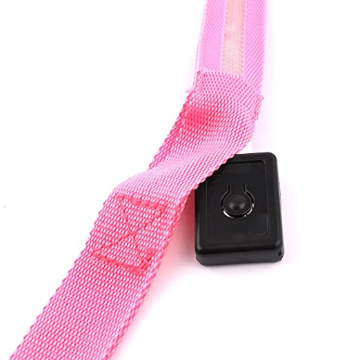 Amazon.com : eDealMax LED de perro de Nylon Para mascotas luz intermitente Correa del Collar Ajustable, Rosa : Pet Supplies