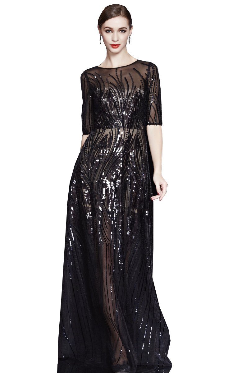 Beauty-Emily Maxi See-Through Sequin O Neck Half Sleeve Sash Zip Christmas Gifts Night Evening Dresses Color Black,Size 20W