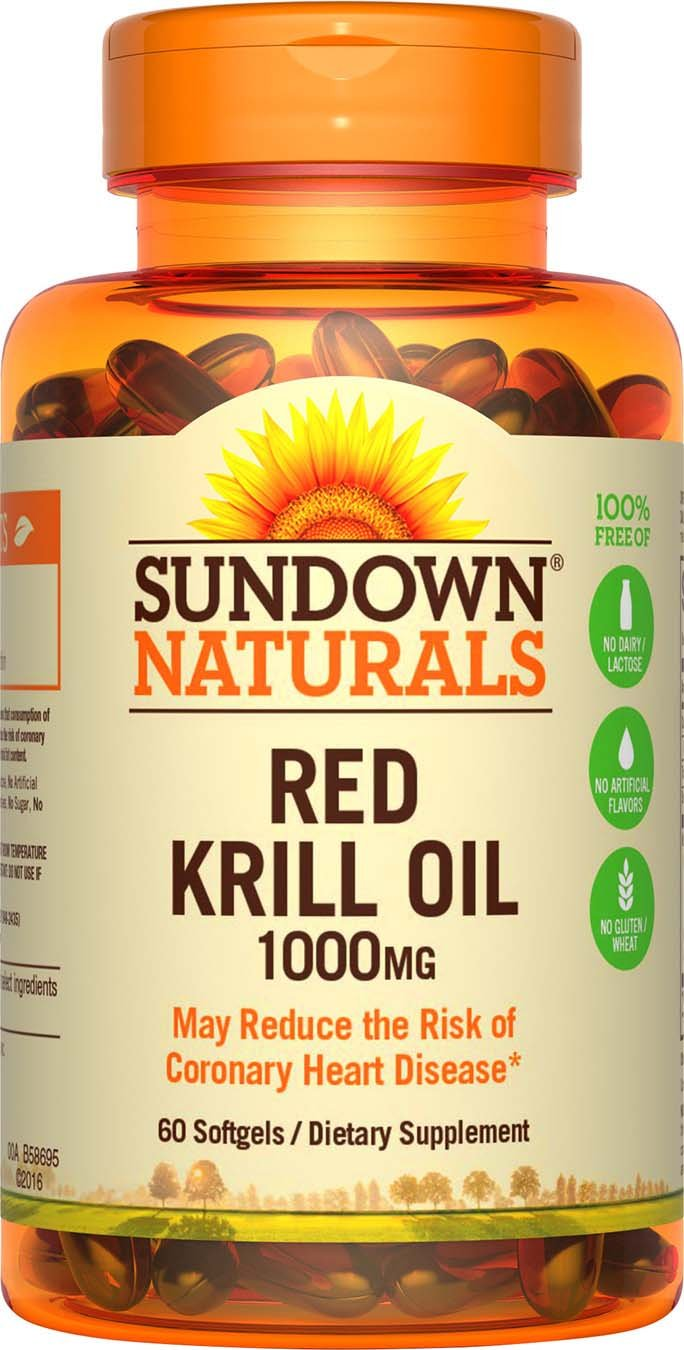 Sundown Naturals Triple Strength Red Krill Oil 1000 mg, 60 Softgels