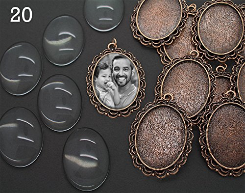 - 20 Pack Copper Oval Glass Photo Pendants Lace Edge Ornate Settings Bonus EZ Photo Jewelry Resizer Software