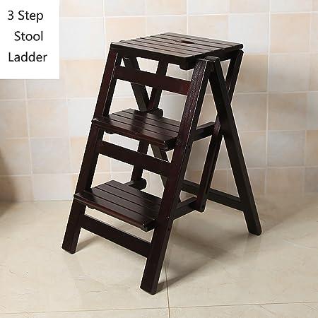 RKY Taburete de Madera de Pino 3 Pasos para Adultos Artículos para el hogar Escaleras de Madera Taburetes de pies pequeños Mesa Plegable Simple Banco de Zapatos portátil/Estante de Flores Taburete /: