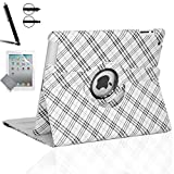 iPad 2 Case, iPad 3 Case, iPad 4 Case, Zeox Rotating Stand Smart Case Protective Cover with Auto Wake Up/Sleep For Apple iPad 2, iPad 3, iPad 4 [with Screen Protector Cover+Stylus], Plaid Silver