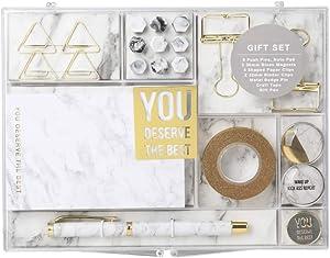 MultiBey Stationery Gift Set Marble White Students Stationery Gift Kit, Set of 24 pcs