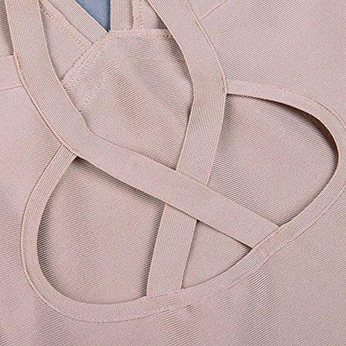 Kunstseide Kleid Beige Halter Ansatz Frauen Schlüsselrozette Verband Rückenfreie HLBandage XB7ax