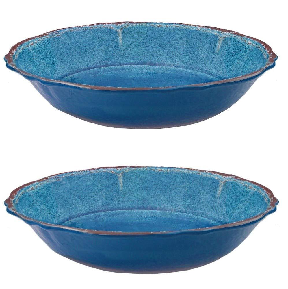 Le Cadeaux Antiqua Blue Salad Bowl for Two Serving Bowl Set